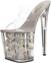 Pleaser USA Women's Flamingo-802 Platform Sandal,Clear/White Flowers,10 M US