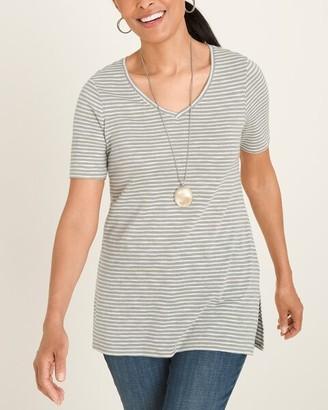 Chico's Cotton-Blend Slub Striped Side-Slit Lurex Tee