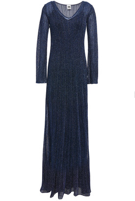 M Missoni Pointelle-trimmed Metallic Ribbed-knit Maxi Dress