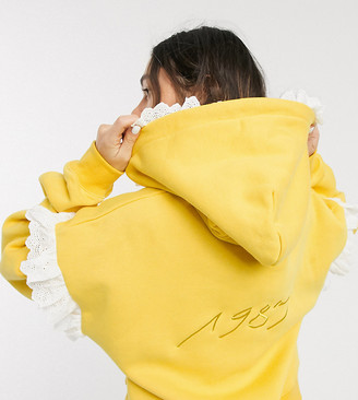 Little sunny bite oversized hoodie with frill detail and front logo