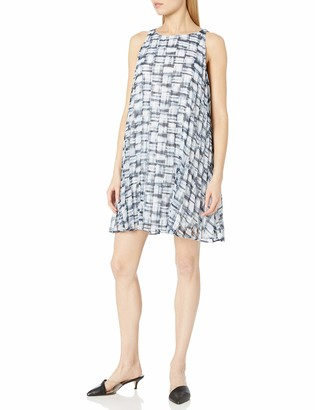 BB Dakota Women's Leah Plaid Printed Chiffon Pleated Dress