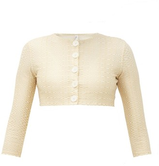 Lisa Marie Fernandez Cropped Seersucker Cardigan Coverup - Womens - Cream Gold