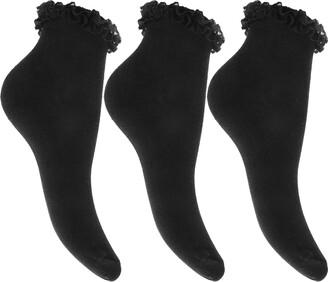 Qz Fashion 6 Pairs Ladies/Girls Beautiful Frilly Black Lace Trim Ankle Trainer Liner Socks UK Shoe Size 4-6