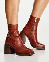 Thumbnail for your product : ASOS DESIGN Region leather mid heel boots in tan