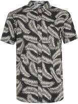 Globe Black And Off White Leaf Print Short Sleeve Shirt*