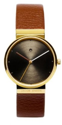 Jacob Jensen Dimension Series Women's Quartz Watch with Brown Dial Analogue Display and Brown Leather Strap 854