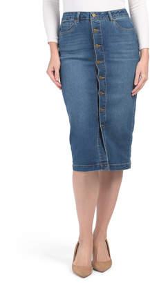 High Waisted Button Front Denim Skirt