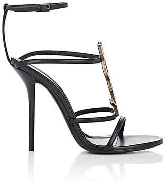 Saint Laurent Women's Cassandra Leather Sandals - Black