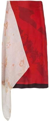 Marine Serre Asymmetric Patchwork Skirt