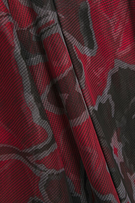 Halston Asymmetric Ruffled Floral-print Tulle Dress