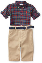 Ralph Lauren Plaid Poplin Shirt w/ Khaki Pants, Navy/Red, Size 9-24 Months