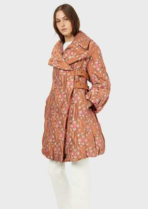 Emporio Armani Quilted Coat With Jacquard Floral Motif