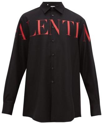 Valentino Logo-print Virgin Wool-blend Overshirt - Mens - Black Red