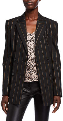 Equipment Rhyder Pinstriped Double Breasted Blazer