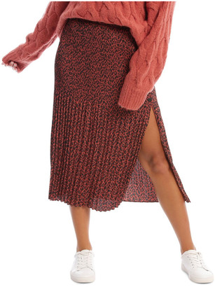 Milk and Honey Gradual Pleat Side Split Skirt - Clay Animal