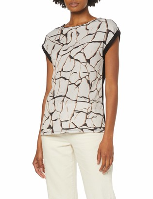 Dorothy Perkins Women's Woven Front Jersey Back Short Sleeve Crackle T-Shirt