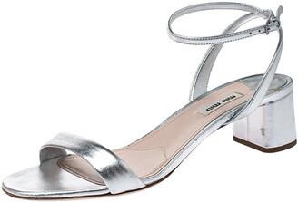 Miu Miu Metallic Silver Leather Ankle Strap Block Heel Sandals Size 39.5