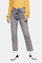 Topshop Grey Raw Hem Straight Jeans