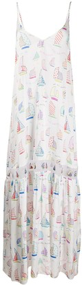 Mira Mikati Sail Boat Print Long Dress