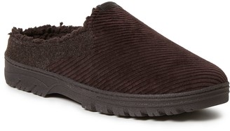 Dearfoams Men's Corduroy and Felted MicrowoolClog Slippers
