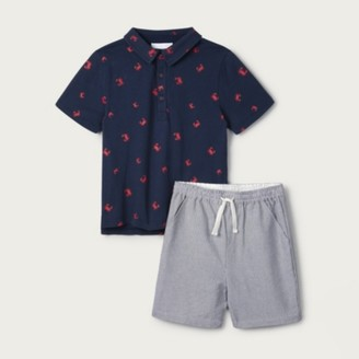 The White Company Crab Polo & Striped Shorts Set (1-6yrs), Blue, 2-3yrs