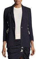 Veronica Beard Taylor Striped Lace-Up Side Blazer, Navy