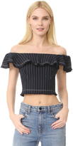 Alexander Wang Raw Edge Off Shoulder Crop Top