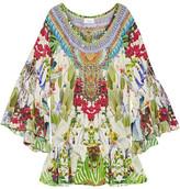 Camilla Exotic Hypnotic Crystal-embellished Printed Silk Crepe De Chine Mini Dress - Green