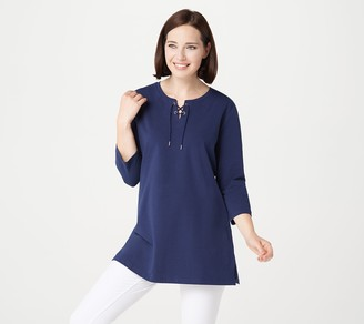 Denim & Co. Essentials Jersey Tunic w/ 3/4-Sleeve and Lace-Up Neck