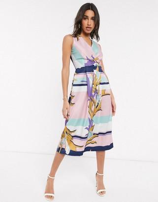 Closet London Closet wrap front midi dress in scarf print