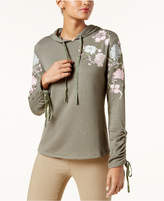 INC International Concepts Embroidered Ruched-Sleeve Hoodie, Created for Macy's