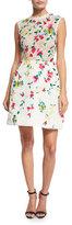 Monique Lhuillier Sleeveless Floral-Lace Cocktail Dress, White/Multi