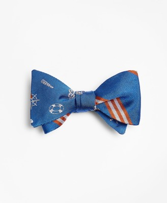 Brooks Brothers Nautical with Stripe Reversible Bow Tie