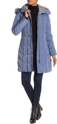 Calvin Klein Hooded Faux Fur Long Down Jacket