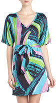 Julie Brown Jb By Marcie Print Self-belt Dress, Black Rainbow