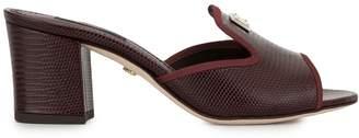 Dolce & Gabbana Lizard-Effect Block-Heel Sandals
