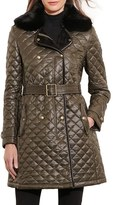 Lauren Ralph Lauren Women's Quilted Three-Quarter Coat With Faux Fur Trim
