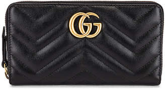 Gucci Leather Zip Around Wallet in Black | FWRD