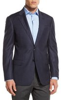 Armani Collezioni G-Line Windowpane Two-Button Sport Coat, Navy