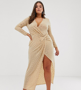 Flounce London Plus sequin stretch maxi dress in gold