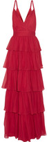 Alice + Olivia Gianna Tiered Silk-georgette Gown - Claret