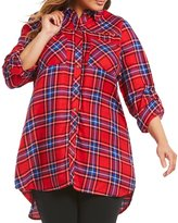 Intro Plus Long Roll-Tab Sleeve Stud Embellished Plaid Button Front Shirt