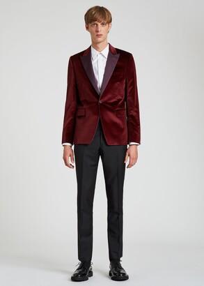 Paul Smith The Soho - Men's Tailored-Fit Damson Velvet Evening Blazer