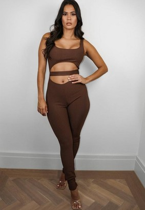 Missguided Premium Chocolate Bandage Cut Out Waistband Romper