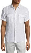 Theory Rilo S Instrumental Linen Short-Sleeve Shirt