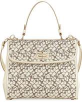 Ralph Lauren Tiffin 33 Laser-Cut Leather Lace Satchel Bag