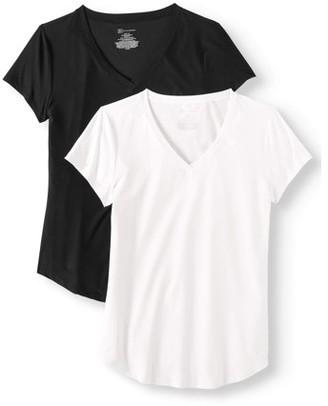 No Boundaries Juniors' Short Sleeve Brushed V-Neck T-Shirt 2-Pack