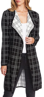 Vince Camuto Plaid Open Front Combed Cotton Cardigan