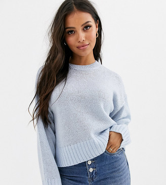 New Look Petite crew neck sweater in light blue