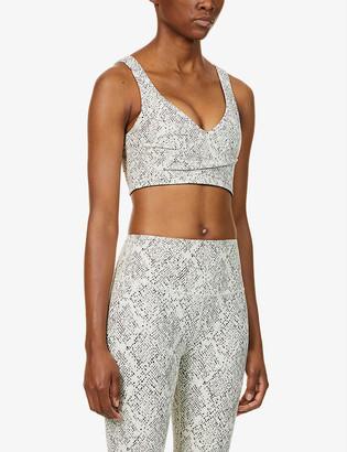 Varley Kellam snakeskin-print stretch-woven sports bra